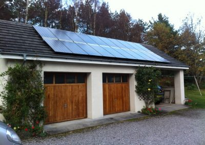 Solar panels on a garage